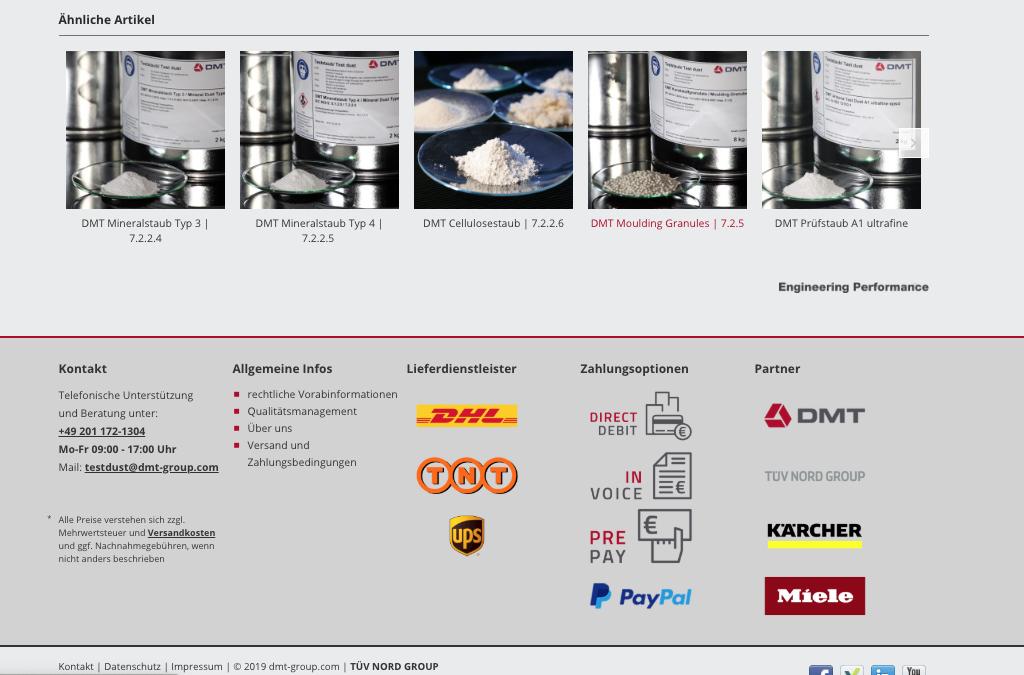 Weltweit erster Online-Shop für Prüf- und Normstäube