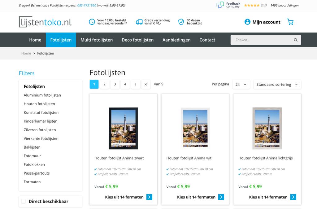 Lijstentoko.nl & fotokaderstoko.be