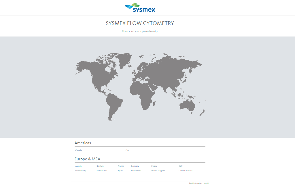 Sysmex Flow Cytometry Country Selector