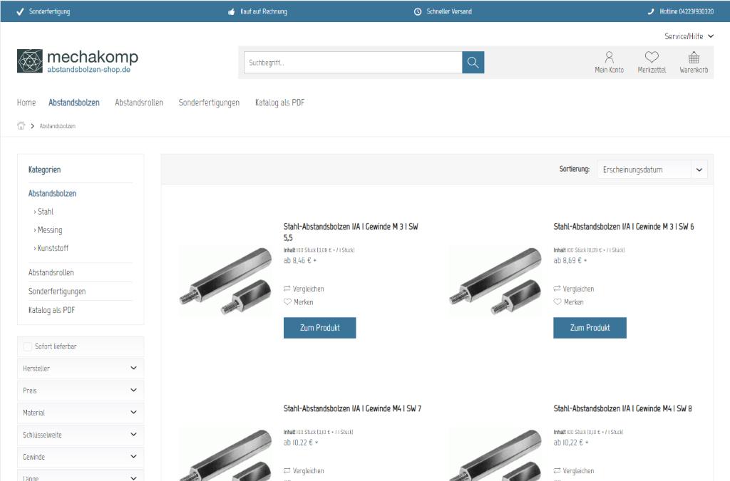 Abstandsbolzen Shop | mechakomp GmbH