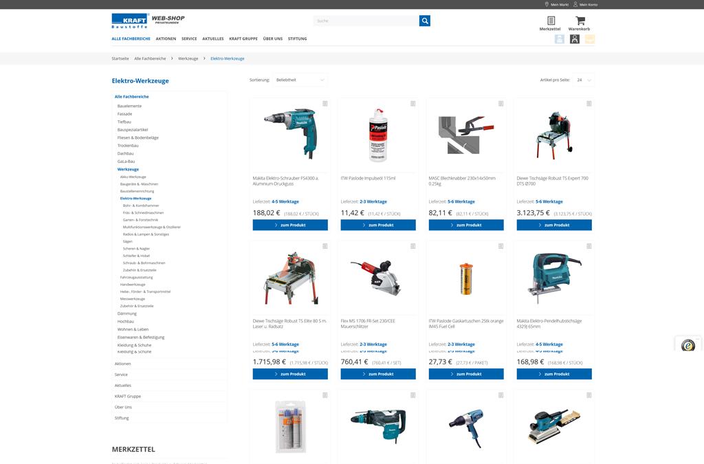 KRAFT Baustoffe Web-Shop