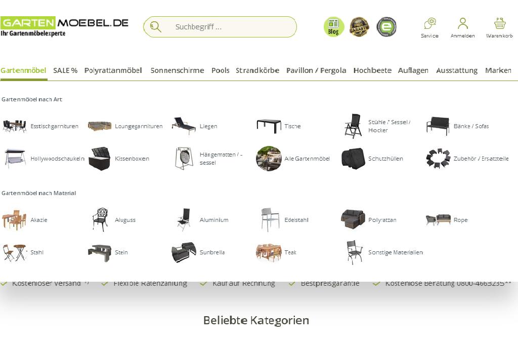 Exklusive Gartenmöbel online aussuchen und liefern lassen: