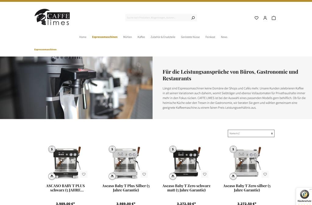 Caffe Limes - Kaffeetechnik und feinsten Kaffee aus hauseigener Privatrösterei